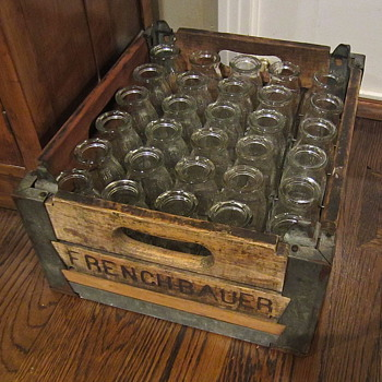 French Bauer crate of cream/milk bottles circa 1930s