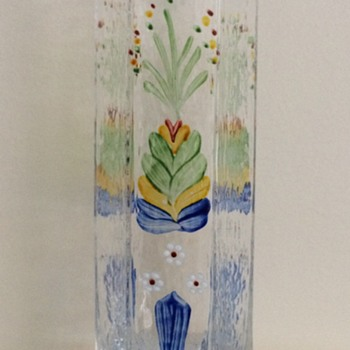 Sea Glasbruk painted glass vase - Art Glass