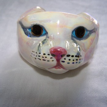 Porcelain Hand Made, Hand Painted Signed CAT Face Bracelet - Animals