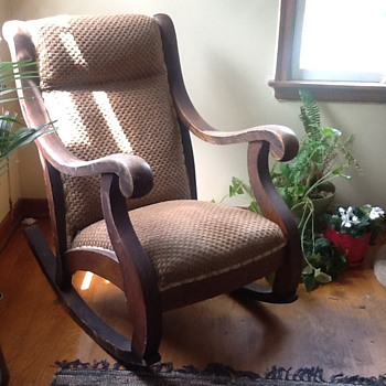 Antique oak rocking chair with counter weights