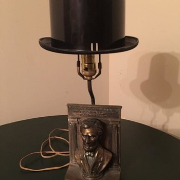 Abe Lincoln Table Lamp with Stovepipe Hat Lampshade-info required please - Lamps