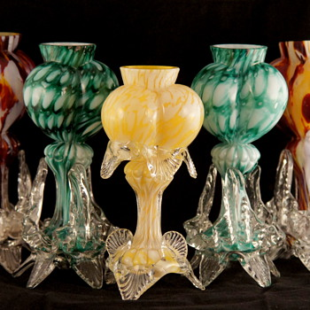 Welz Tri-lobed Heart Vases - Incredibly Unique Shapes in Unique Welz Decors - Art Glass