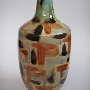 Large Mid Century Vase~ Hand-painted &amp; Handsome