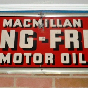 "Macmillan metal embossed sign,15""x52""  circa 1946 - Signs"
