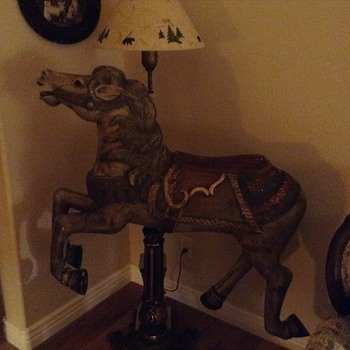 Carved/cairousal horse  - Animals