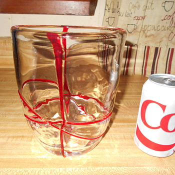 Clear heavy thick art glass vase red abstract threading Maker?