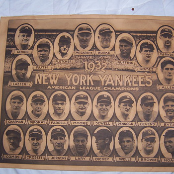 1932 NEW YORK YANKEES A.L. CHAMPIONS POSTER - Baseball