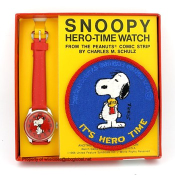 1971 Snoopy Hero-Time Watch w/ Patch in Original Box - Wristwatches