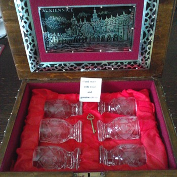 Polish Crystal Shot Glass Set in Wood Box  - Art Glass