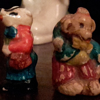 8 antique peter rabbit chalkware figurines