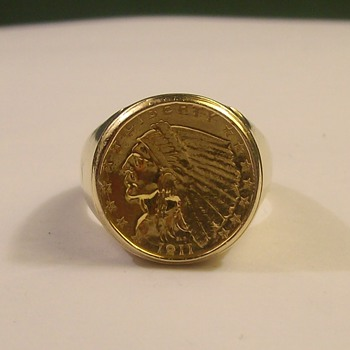$2.50 Gold Indian Coin Ring - Fine Jewelry
