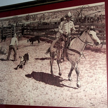 Cowboy Themed Pen & Ink - Posters and Prints