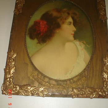 Brookfield Rye Girl Advertising sign in wood frame 2'x3' - Advertising