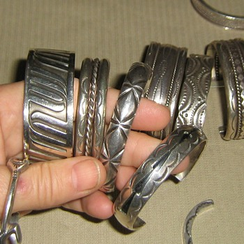 Sterling Native American stamped cuff bracelets