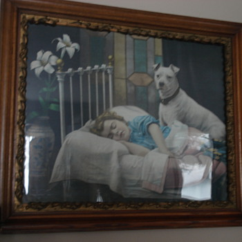 Sleeping child with dog at bedside.