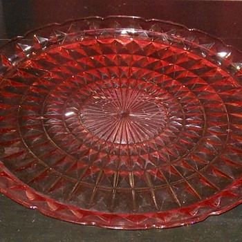 Depression Glass Jeannette Windsor Pattern Cake Platter