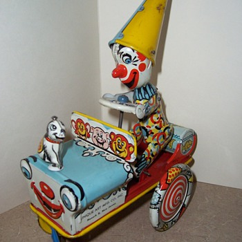 "Unique Art ""Artie the Clown"" 1940's Tin Toy - Toys"