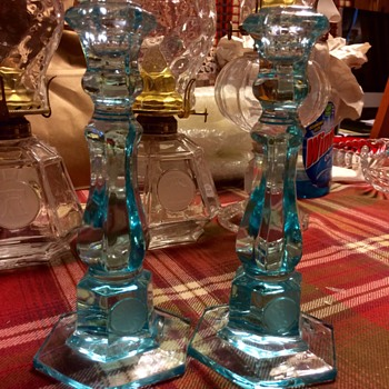 "Blue 8"" Candlesticks"