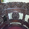 Gothic carved 6 legged wooden swivel round chair