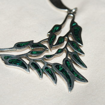 Vintage Sterling Silver and Malachite Inlay Mexican Necklace