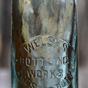 Welsh's Bottling Works, Crested Butte, Colorado Hutchinson soda bottle, 1900