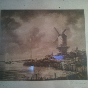 Huge framed antique print