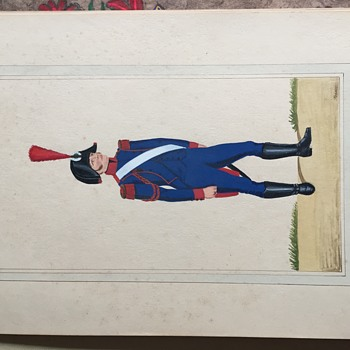 French Military Men in uniform from early 1800's, hand painted by Bader - Military and Wartime