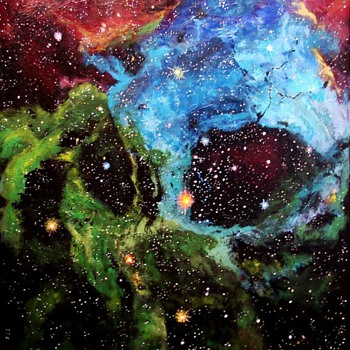 "Rosette Nebula, original, acrylic painting on 24"" x 30"" gallery canvas."