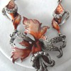 Silver enameled  flower Art Nouveau necklace with Marcacites