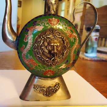 Hand Crafted Tibet Cloisonne Decorative Tea Pot 5 1/2 inch tall  With MONKEY!! - Asian