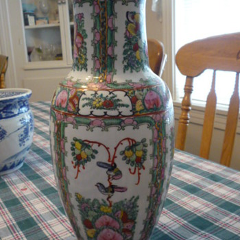 Tall stamped Chinese paneled vase with birds and flowers. - Asian
