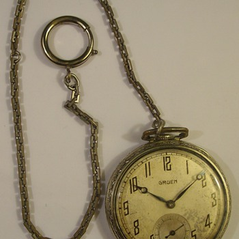 1930 Award From Champion Spark Plugs &quot;Gruen&quot; Pocket Watch &amp; Chain - Pocket Watches