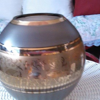 vintage antique gold globe with birds on it?