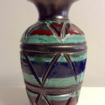 Fratelli Fanciullacci Geometric Relief Vase Italy - Art Pottery