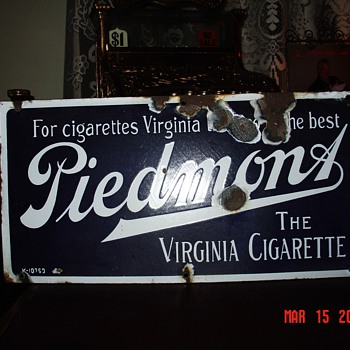 Porcelain Piedmont Tobacco Sign...The Virginia Cigarette...Two Colors - Signs