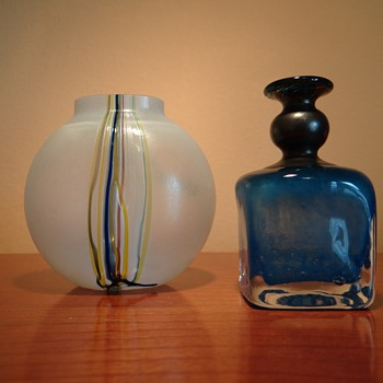 BODA  SWEDEN  BY VALLIEN  3, AND 48223 (2 MINI VASES ) AND BIG  THANKYOU TO SCANDINAVIAN PIECES :) - Art Glass