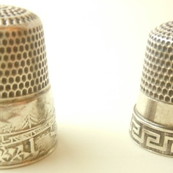 sterling silver thimbles with 2 scenic houses with a bridge connecting them