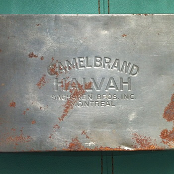 Camel brand Halvah tin. - Advertising