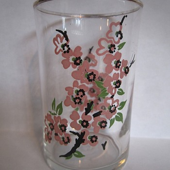 Depression Glass with blossoms, may be Libby