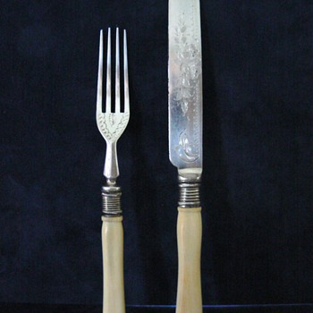 Antique Etched Knife and Fork