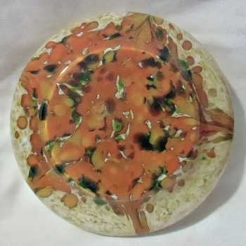 Impressive Czech Rückl Orange Double Spatter Bowl: 2