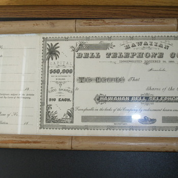 Unused Hawaiian Bell Telephone Company Stock Certificate 1880&#039;s - Telephones
