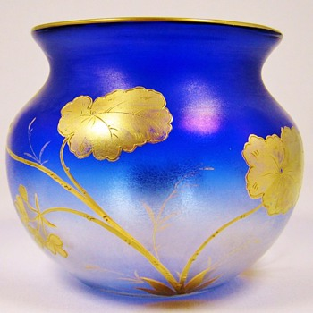 Fritz Heckert Blue Shaded Vase with Gold Decoration - Art Glass