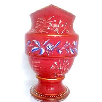 Victorian Harrach Pink/Red Opaline Enamelled Cased Vase, ca 1870's - Art Glass