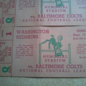 Washington Redskins Football Tickets vs Baltimore Colts  1950 - Football