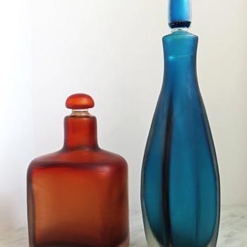Paolo Venini Inciso Bottles c.1955 - Art Glass