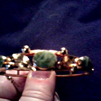 Bangle Bracelet with Green Stones /Marked 1/20 12 KT GF /Unknown Maker/ Circa 20th Century - Fine Jewelry