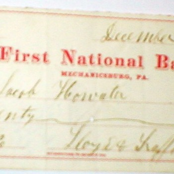 ANTIQUE BANK CHECKS - MYSTERY OF POSTAGE STAMPS ON CHECKS - Paper