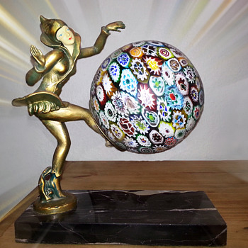 "Lamp ""Danseuses Des Indies"" By Ignacio Gallo - Millefiori Shade - Art Deco"