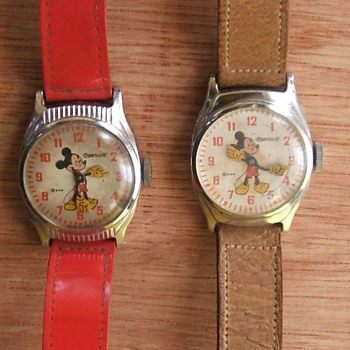 1947-50 Round Mickey Mouse Watch - Wristwatches
